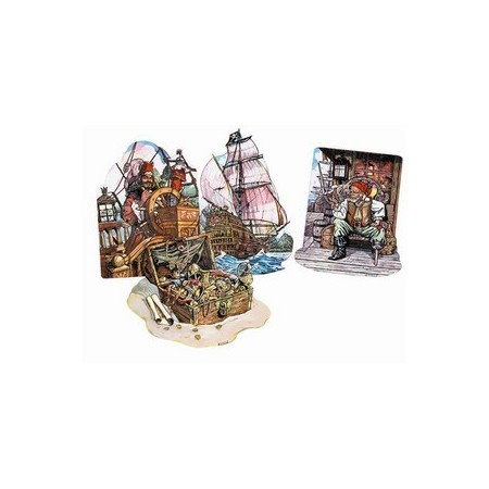 Set de 4 decors Pirates - carton