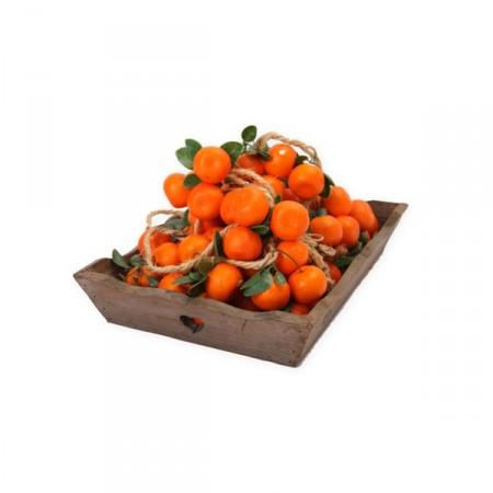 mandarines - tresse x 5 - polystyrène/corde - Long. 100cm