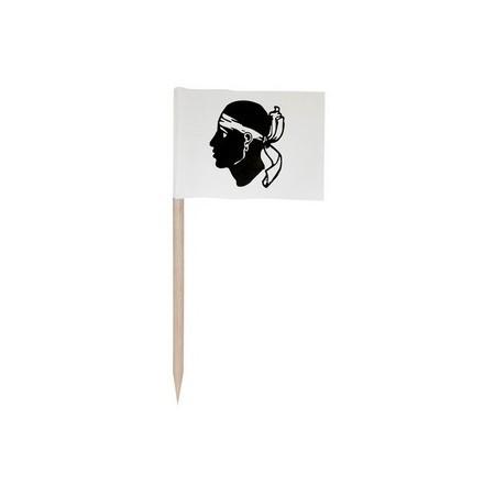 Drapeaux mini  Corse x 144 -papier-3.5 x 2.5 cm (pic en bois de 6.5 cm)