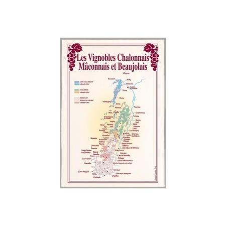 """Tissu Imprimé """" Les Vignobles Beaujolais et Mâconnais """" - Coton - 48 x 72 cm"""