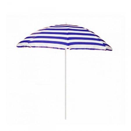 Parasol à rayures bleues et blanches avec pied - Diamètre 200 cm