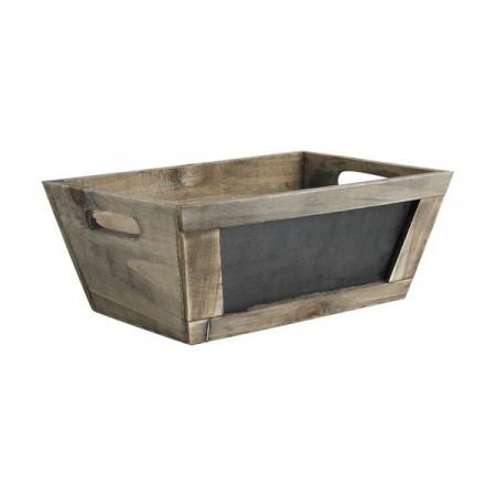 Caisse bois vieilli 28 x 18 x 10 cm tableau noir