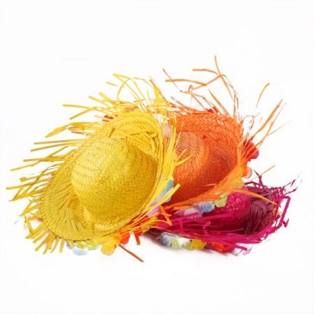 Chapeau exotique différents coloris - paille - taille adulte