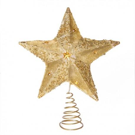 Etoile or pour t te de sapin haut 24 cm d cors du monde - Etoile lumineuse pour sapin ...