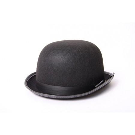 Chapeau melon noir - feutre - taille adulte
