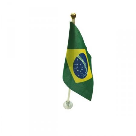 Drapeaux Brésil  de table + support ventouse x 10