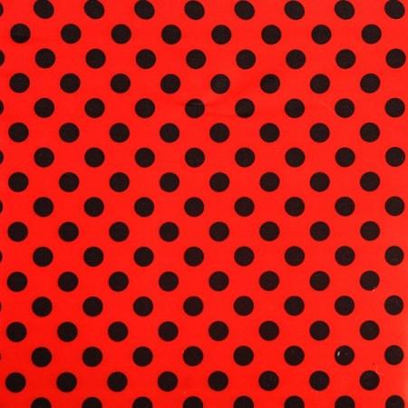 """Tissu """"Carmen"""" rouge à points noirs Largeur 140 cm"""