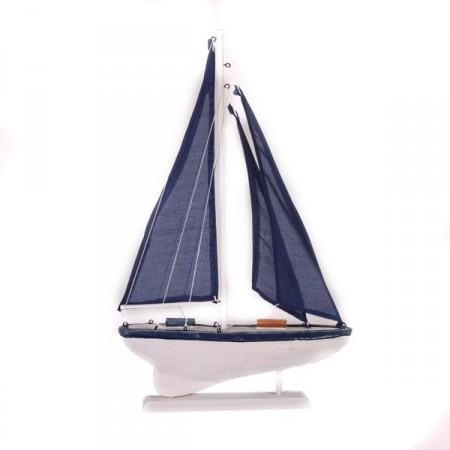 Voilier bleu en bois - 30 x 48cm