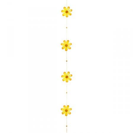 Guirlande fleurs jaune crépon Long: 180 cm diam : 8 cm