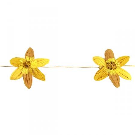 Guirlande fleurs jaune mandarine crépon Long: 130 cm diam : 13 cm