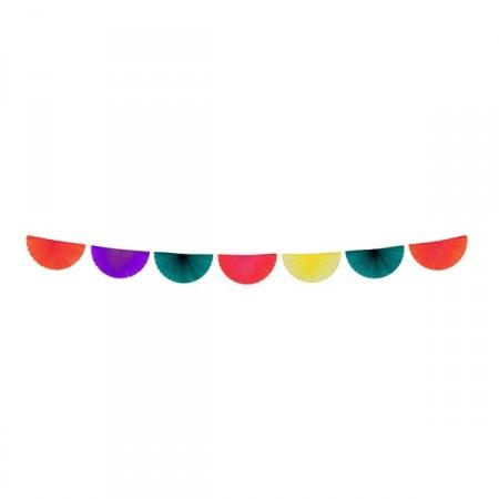 Guirlande de 7 éventails multicolore - papier - 3 m