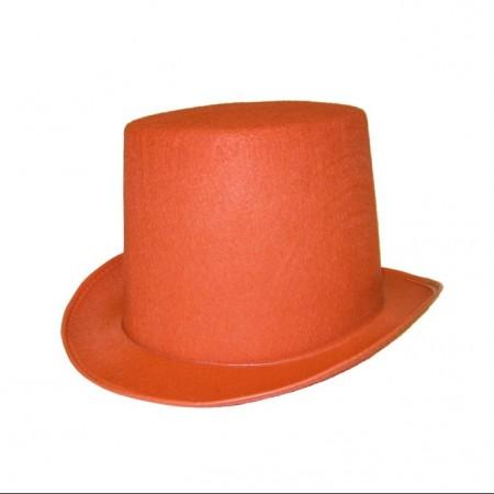 Chapeau haut de forme orange  - feutre - taille adulte
