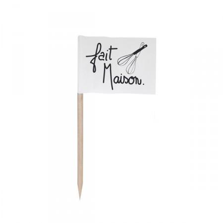 Drapeaux mini fait Maison x144 -papier - 3.5 x 2.5 cm  (pic en bois de 6.5 cm)