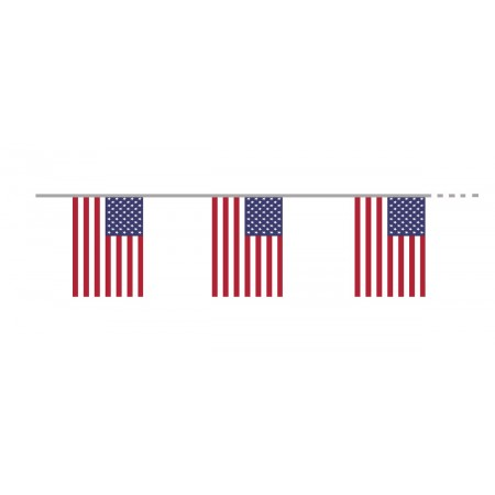 Guirlande USA  - 10 fanions 21 x 30 cm - plastique - Long.400cm