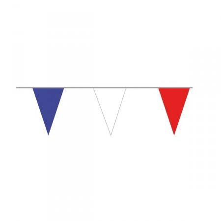 Guirlande de 20 pavillons de 20 x 30 cm bleu/blanc/rouge - pvc - 10 ml