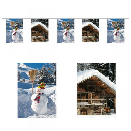 Guirlande Montagne hiver nouvelle - 10 fanions 21 x 30 cm - papier - Long. 420cm