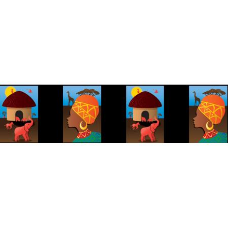 Guirlande AFRIQUE - 10 fanions 20 x 30 cm - papier - Long.420cm