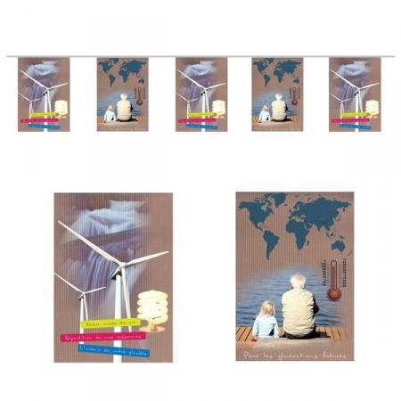 Guirlande Développement Durable  - 10 fanions 20 x 30 cm - papier - Long.420cm