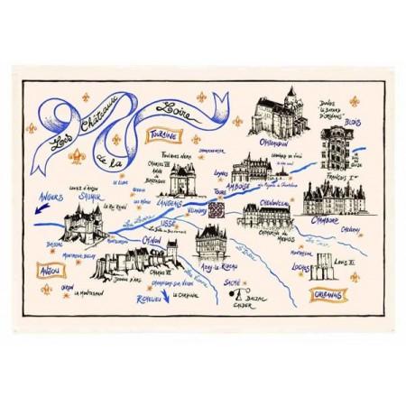 Tissu Imprimé  Chateau de la Loire  - Coton - 48 x 72 cm