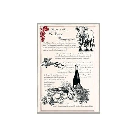 "Tissu Imprimé "" Boeuf Bourguignon "" - Coton - 48 x 72 cm"