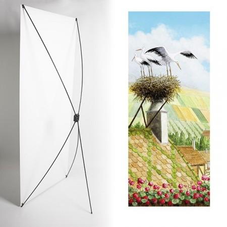 Kakemono Alsace cigognes - 180 x 80 cm - Toile M1 avec structure  X- Banner