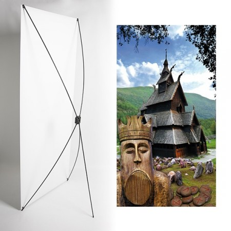 Kakemono Eglise vikings - 180 x 80 cm - Toile M1 avec structure  X- Banner