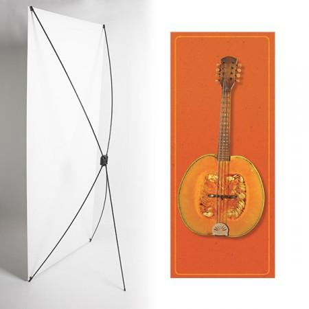 Kakemono mandoline orange- 180 x 80 cm - Toile M1 avec structure  X- Banner