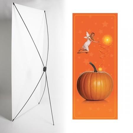 Kakemono fee orange - 180 x 80 cm - Toile M1 avec structure  X- Banner