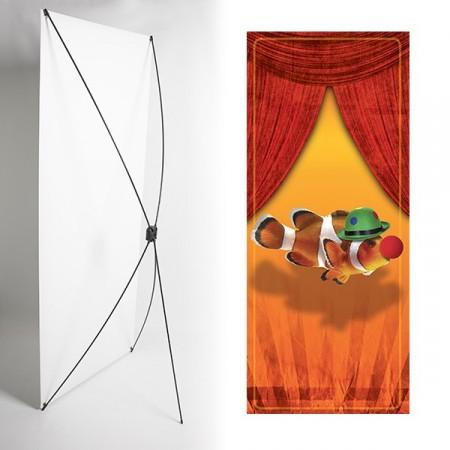 Kakemono Poisson clown orange - 180 x 80 cm - Toile M1 avec structure  X- Banner