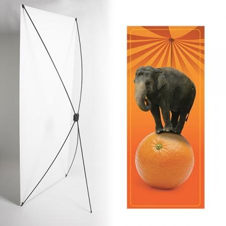 Kakemono Elephant orange - 180 x 80 cm - Toile M1 avec structure  X- Banner