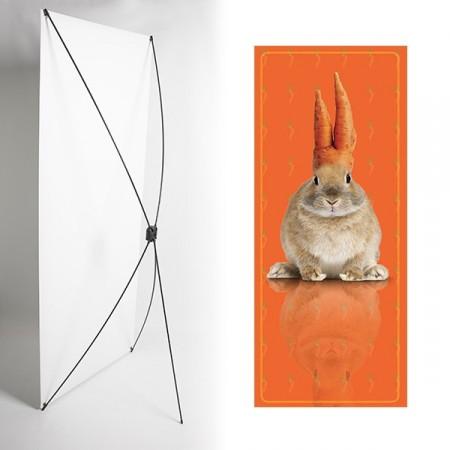 Kakemono Lapin orange - 180 x 80 cm - Toile M1 avec structure  X- Banner