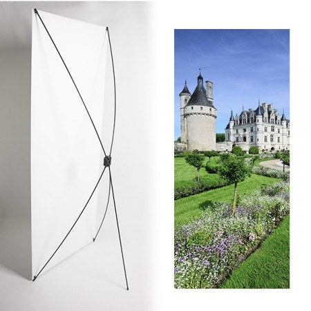 Kakemono château Loire - 180 x 80 cm - Toile M1 avec structure  X- Banner
