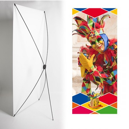 Kakemono arlequin carnaval - 180 x 80 cm - Toile M1 avec structure  X- Banner