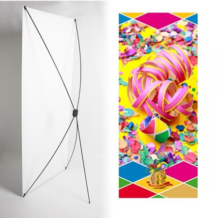 Kakemono cotillons carnaval - 180 x 80 cm - Toile M1 avec structure  X- Banner
