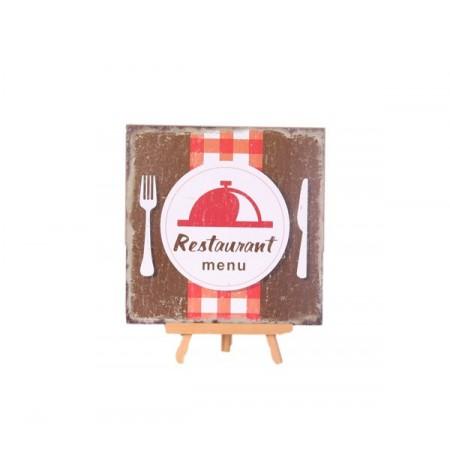 Plaque en bois RESTAURANT - 30 x 30cm