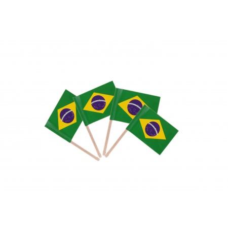 Drapeaux mini Bresil x 50 - 3.5 x 2.5 cm (pic en bois de 6.5 cm)