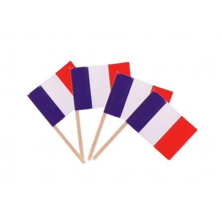Drapeaux mini France x 50 - papier-3.5 x 2.5 cm (pic en bois de 6.5 cm)