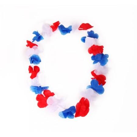 Colliers de fleurs Bleu / Blanc / Rouge x 12