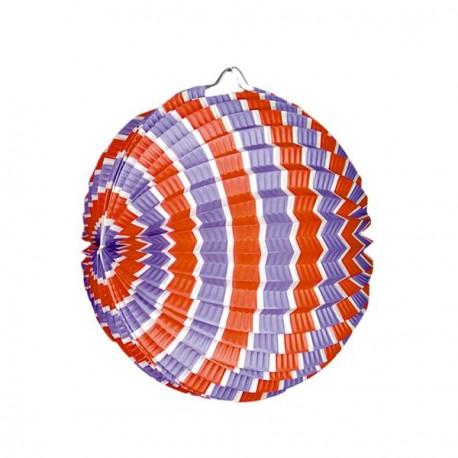 Lampions ronds  bleu/blanc/rouge x 5 - papier - Diam: 22 cm