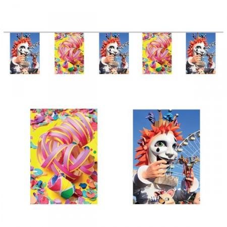 Guirlande Carnaval - 10 fanions 20 x 30 cm - papier - Long.420cm