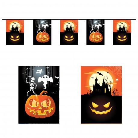 Guirlande Halloween - 10 fanions 20 x 30 cm - papier - Long.420cm