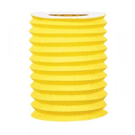 Lampion cylindrique jaune - papier - diam 16 cm