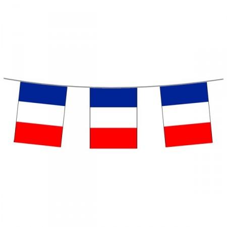 Guirlande France - 12 fanions 15 x 21cm - tissu - Long. 450cm
