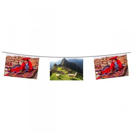 Guirlande Amerique du Sud - 10 fanions 20 x 30 cm - papier - Long.520cm