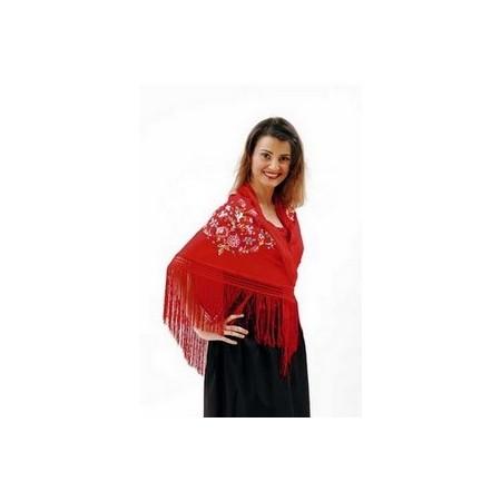 Châle rouge - textile - 165 x 180cm