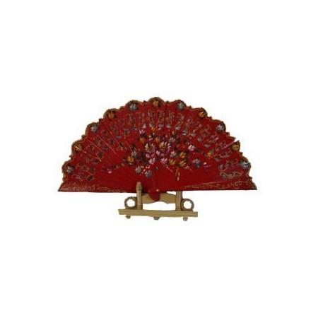 Eventail à main espagnol - bois - différents coloris - Diam. 50 cm