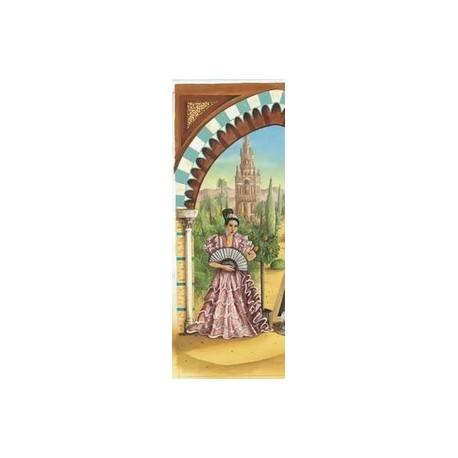 """Kakemono  """"Les Jardins d'Alhambra"""" gauche + support - papier  - 200x85cm"""