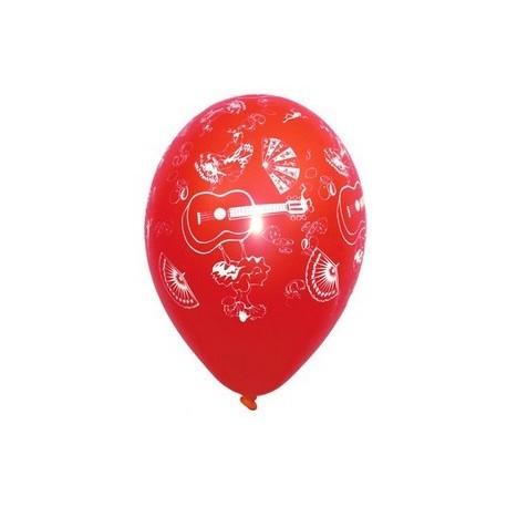 """Pochette de 8 ballons multicolores motifs """"Espagne"""" - Diam. 29cm"""