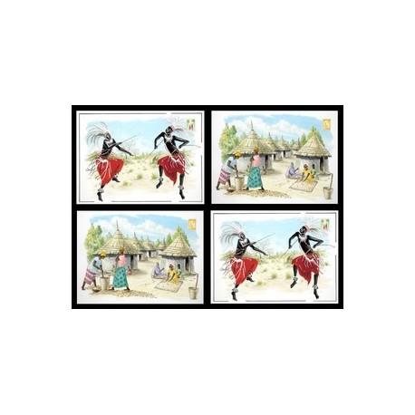 Set de 4 decors Afrique  - carton