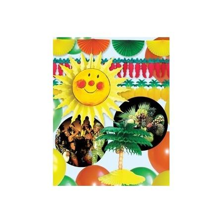 Kit Exotique - papier 1 Eventail, 2 Guirlandes, 1 Palmier, 2 Mobils, 10 Ballons